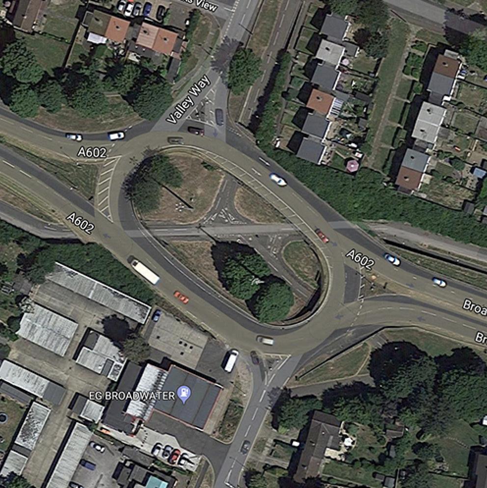 Valley Way via A602 roundbaout