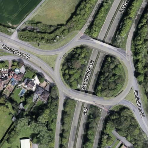 A425 via A46 Bypass roundbaout
