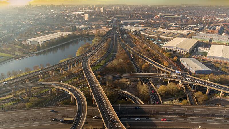 Spaghetti junction overlooking Birmingham