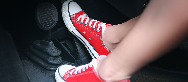 feet on pedal